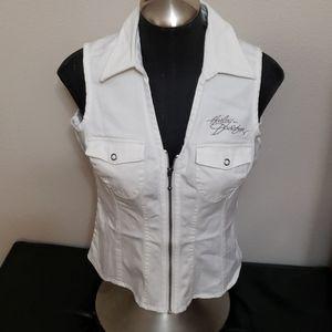 Sm white jean vest Harley davidson like new